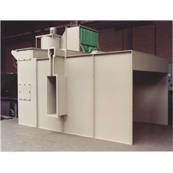 Wet enamel spray booths for overhead conveyors