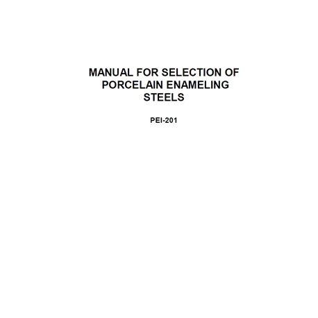 "PEI-201 ""Selection of Porcelain Enamel Steels"""