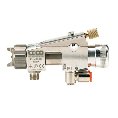 Automatic HVLP spray gun for wet enamel