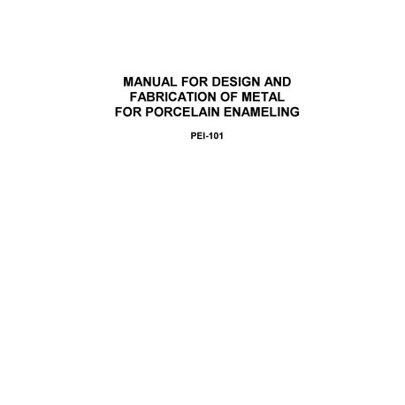 "PEI-101 ""Manual of product design for Porcelain enamel"""